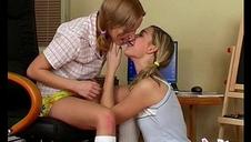 ash-blonde teenie lesbians licking pussy